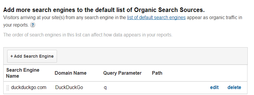 Universal Analytics - Default Search Engine Configuration