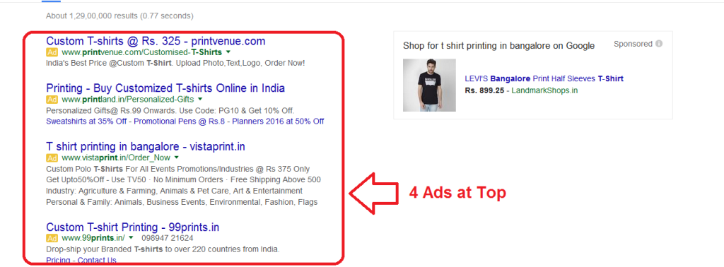 Adwords 4 Ads at Top